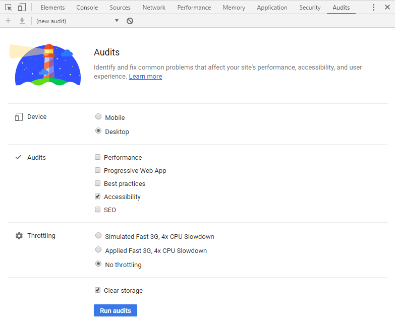 Google developer tools audit tab